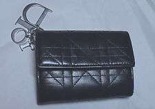 Dior Charms Lambskin CANNAGE Print Mini wallet-Black-AS IS not perfect condition
