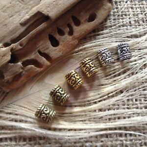 6x Elven Celtic Viking Dread Beard Beads Silver Brass Bronze Mix 5mm hole UK