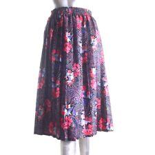 Vintage Pretty Pleated Skirt Colourful Floral Paisley Elasticised Waist 12 UK