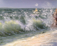 original oil painting signed Oceanscape painting of sea beach,wave by the shore,
