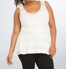 Torrid White Lace Peplum Soft Stretchy Top Size 00 Medium Large or 10 #08405