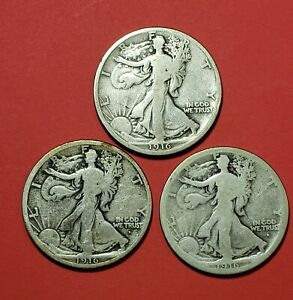 1916, 1916D, 1916S WALKING LIBERTY HALF DOLLARS