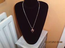 Fabulous pink swarvoski element crystal heart necklace/hand made