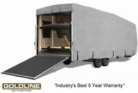 Goldline RV Trailer Toy Hauler Cover Fits 26 to 28 Foot Grey