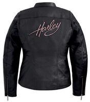 Harley Davidson Womens PINK LABEL Embellished Black Leather Jacket 98022-12VW XS