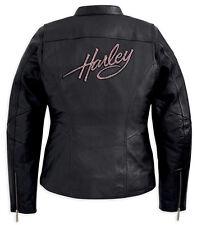 Harley Davidson Women's PINK LABEL Embellished Black Leather Jacket 98022-12VW L