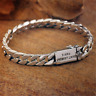 Solid Sterling Silver Curb Link Bracelet Clasp Buckle Heavy Fashion Punk Bangle