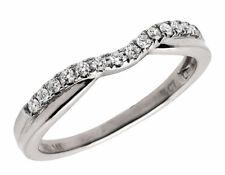 Ladies 14K White Gold Real Round Diamonds Contour Engagement Ring Band 0.12 ct