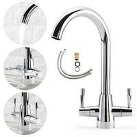 New Swivel Tap Kitchen Mono Sink Luxury Designer Modern Mixer Twin Lever