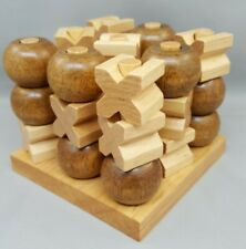 Tic Tac Toe 3D Wood Tic-Tac-Toe Game Wooden XOXO Game Set Strategy Home Decor