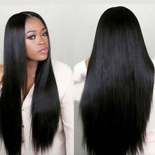 Women Black Long Straight Lace Front Rose Net Human Hair Wig Hairpiece New