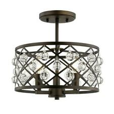 Pennington Crest 13 in. 3-Light Aged Bronze Semi Flush Mount /Crystal Globes HDC