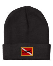 DIVE FLAG WITH DIVER Embroidery Embroidered Beanie Skull Cap Hat