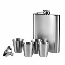 Hip Flask Set, 8oz Flask/4 Cups/Funnel, Stainless Steel