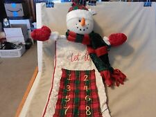 Let It Snow! Snowman Fabric Countdown to Christmas Wall Hanging