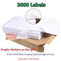 3000 Half Sheet 8.5x5.5 Shipping Labels 2 Labels Per Sheet Self Adhesive USPS