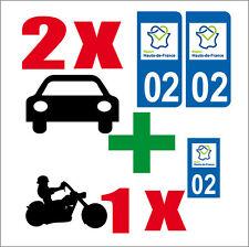 Lot 3 STICKERS 2 x AUTO+1x MOTO STYLE PLAQUE IMMATRICULATION HAUT-DE-FRANCE 02