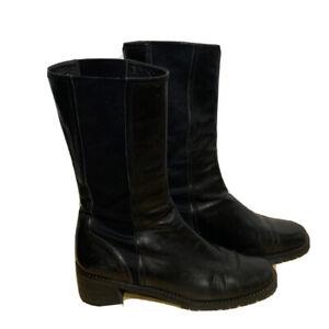 Stuart Weitzman Honda/Nappa Black Boots Women Sz 8 Narrow Leather Combat Style