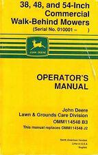 JOHN DEERE 38 48 54-INCH COMMERCIAL WALK BEHIND MOWERS OPERATOR'S  MANUAL jd  XX