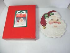 "Fitz & Floyd Omnibus Promo Santa Face Canape Cookie Plate 8"" x 9 1/2"" Christmas"