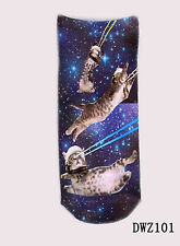 New fashion style 1 Pair 3D printing Low Cut Animal Cat Space Cat Ankle Socks