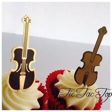 12x Violin Cello Card CUPCAKE TOPPER Pick. Party Supplies Music Lolly Bag