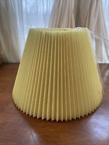 "Vtg yellow Pleated Lamp Shade Paper Fabric Pleating 16""D 11""H"