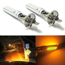 2x H1 Yellow/Amber Fog Light DRL COB Daytime Running Lamps COB LED Lights Bulbs