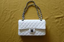 Pre-owned 100% Authentic Chanel Medium White Flap Handbag