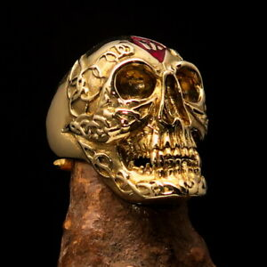 Perfectly crafted Men's Outlaw Biker Ring 1% Skull Red Diamond