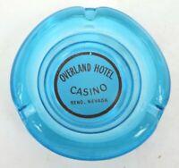 Vintage Ashtray OVERLAND HOTEL CASINO RENO NEVADA ACL blue aqua glass