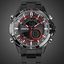 INFANTRY LCD Mens Digital Quartz Wrist Watches Chronograph Sport Stainless Steel