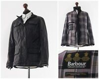 Women's BARBOUR Ladies Utility Jacket Coat Wax Waxed Oil Grey Size 10 14 42 L