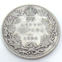 1935 Canada 25 Twenty Five Cents Quarter Silver King George V Canadian Coin G736