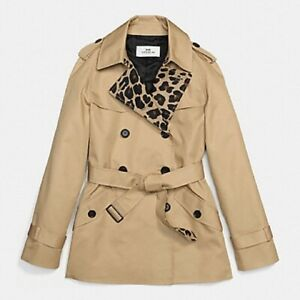Women's Coach Trench Coat Tan With Leopard Print - Size Extra Small XS F18029