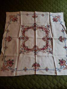 Vintage Cross stitch square size tablecloth