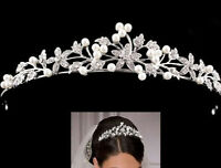 Bridal Tiara Flower Rhinestone Crystal Crown Hairband Pearl Hair Comb Wedding