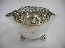 ANTIQUE SILVER ROSE BOWL WITH WIRE FROG / LONDON 1901 HALLMARK
