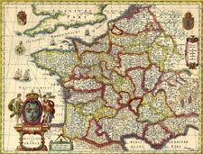 Reproduction carte ancienne - Royaume de France XVIIè