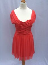 Topshop Size UK 8 Orange Coral Pleated Tulle Wrap Dress 50s style with Zip XS