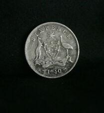 1940 Sixpence Australia Rare Silver World Coin KM38  6 Pence Red Kangaroo Emu