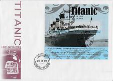 Tuvalu 2012 Fdc Rms Titanic 3v m/s cubierta Barcos Buques hundimiento desastre