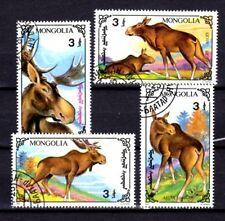 Animaux Faune sauvage Mongolie série (78) complète 4 timbres oblitérés