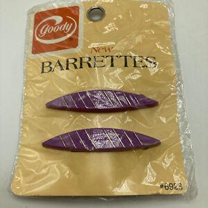 Vintage 1975 Goody Barrettes Wire Clasp Purple Plastic Pkg 2 NOS