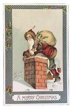 Vintage Christmas Postcard - Santa Climbing Down Chimney
