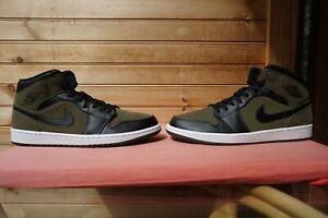 "2018 Nike Air Jordan 1 Mid ""Olive Canvas Black White"" Size 13 (3105) 554724-301"