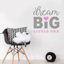 Dream Big Little One Quote Baby Girl Nursery Bedroom Wall Sticker Decor