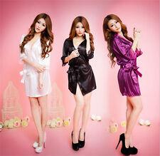 Women solid robe Silk Satin Robes Wedding Bridesmaid Bride Gown kimono robe #6