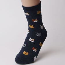 Fashion Women 5 Colors 1 Pair Lovely Animal Cat Pattern Soft Socks Xmas Gift Navy