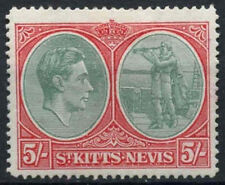 St Kitts Nevis 1938-50 SG#77bc 5s Break In Oval At Foot Error Variety MH #D24135